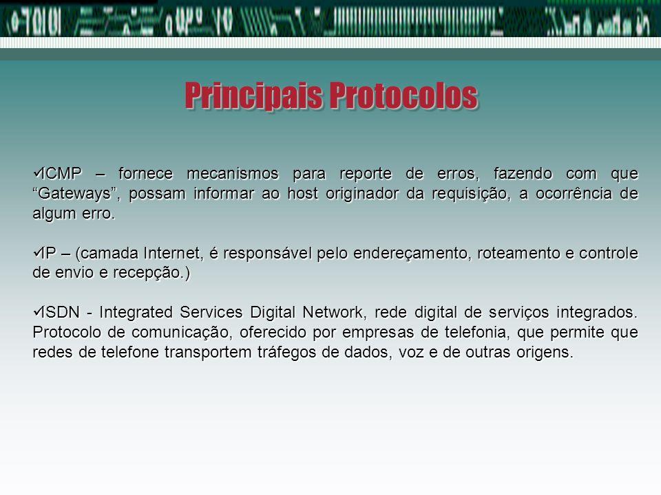 Principais Protocolos SMTP (permite o envio de mensagem) POP3 (permite receber mensagem) FTP (Download), HTTP (permite mostrar páginas da Web) TELNET (conexão remota a um servidor) PPP (POINT-TO-POINT) FRAME RELAY
