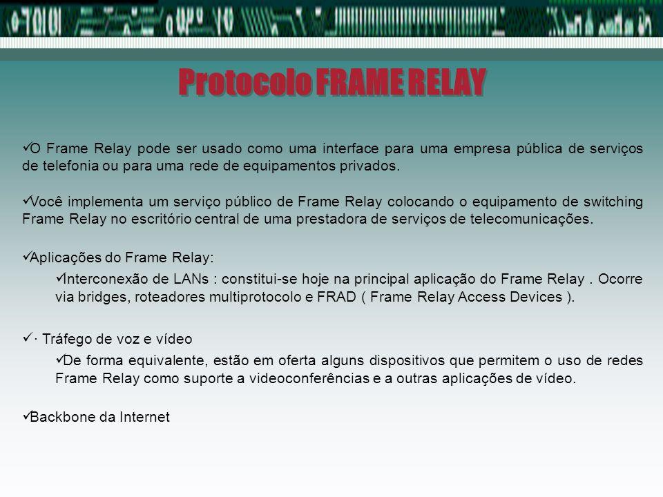 Protocolo FRAME RELAY O Frame Relay pode ser usado como uma interface para uma empresa pública de serviços de telefonia ou para uma rede de equipament