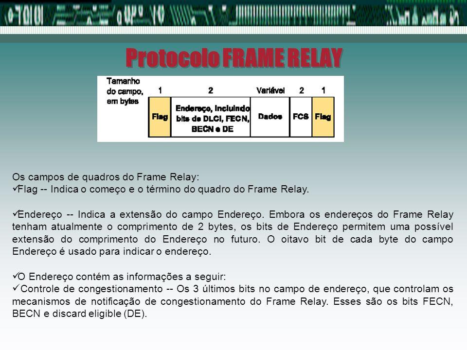 Protocolo FRAME RELAY Os campos de quadros do Frame Relay: Dados -- Campo de extensão variável que contém dados encapsulados da camada superior.