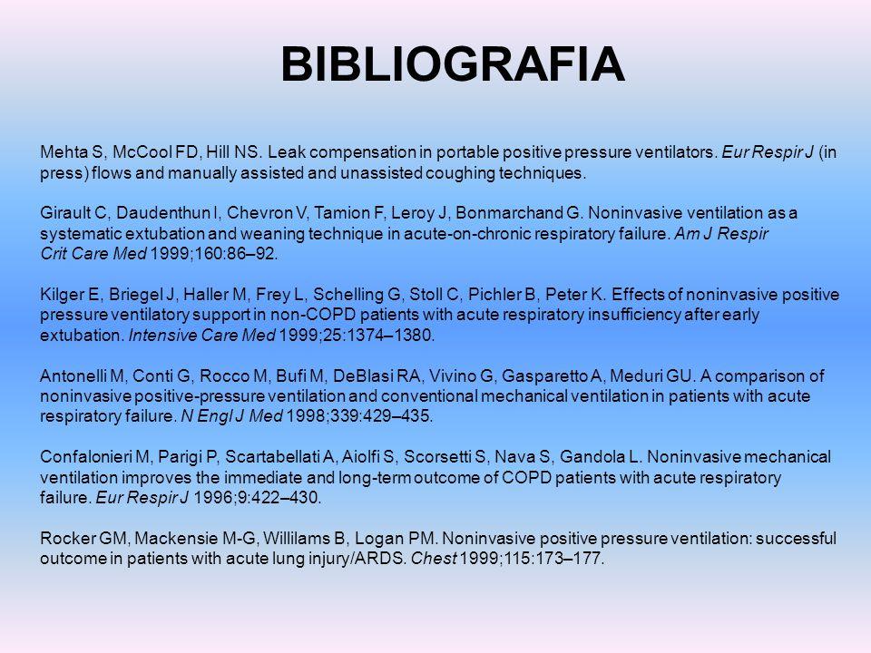 BIBLIOGRAFIA Mehta S, McCool FD, Hill NS. Leak compensation in portable positive pressure ventilators. Eur Respir J (in press) flows and manually assi