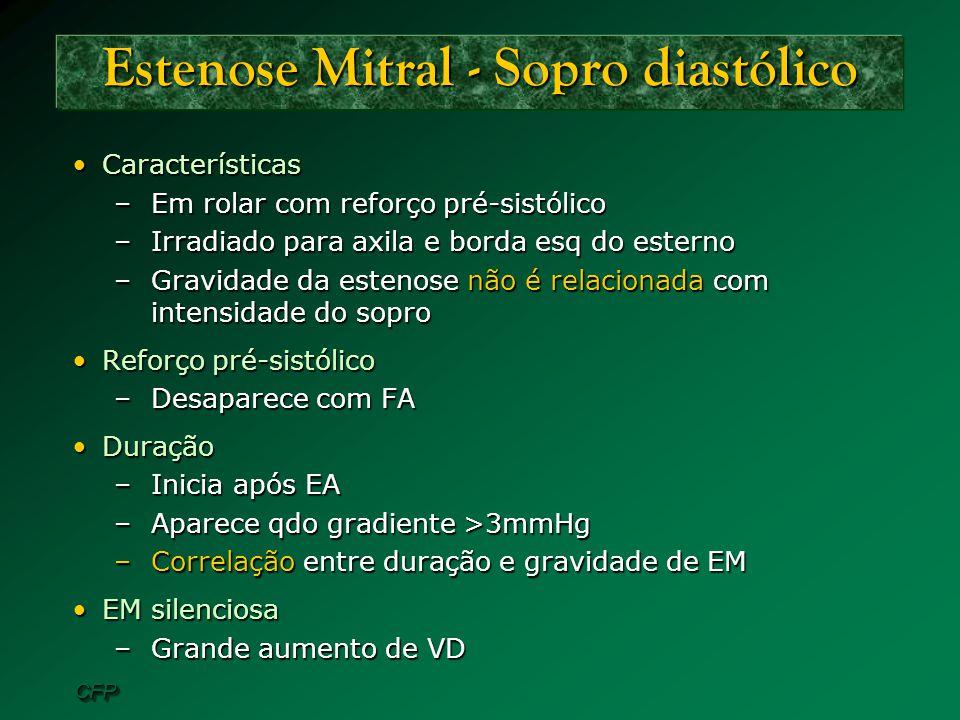 CFPCFP Estenose Mitral - Sopro diastólico CaracterísticasCaracterísticas –Em rolar com reforço pré-sistólico –Irradiado para axila e borda esq do este