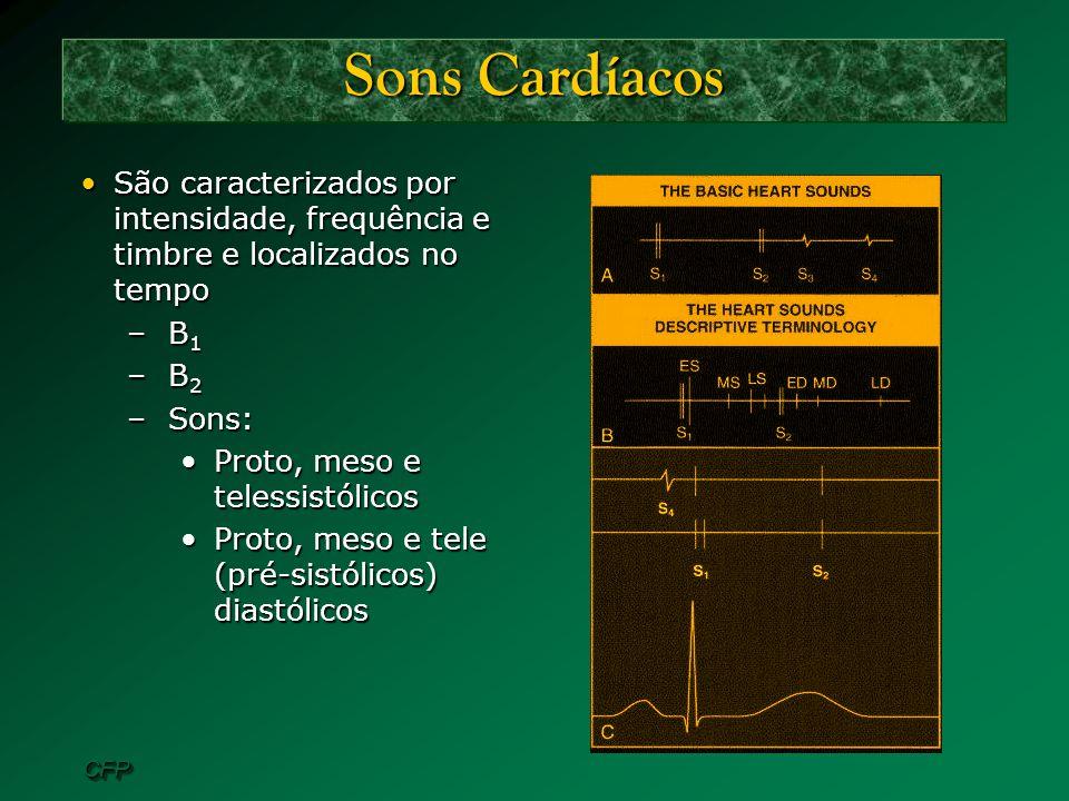 CFPCFP Sons Cardíacos São caracterizados por intensidade, frequência e timbre e localizados no tempoSão caracterizados por intensidade, frequência e t