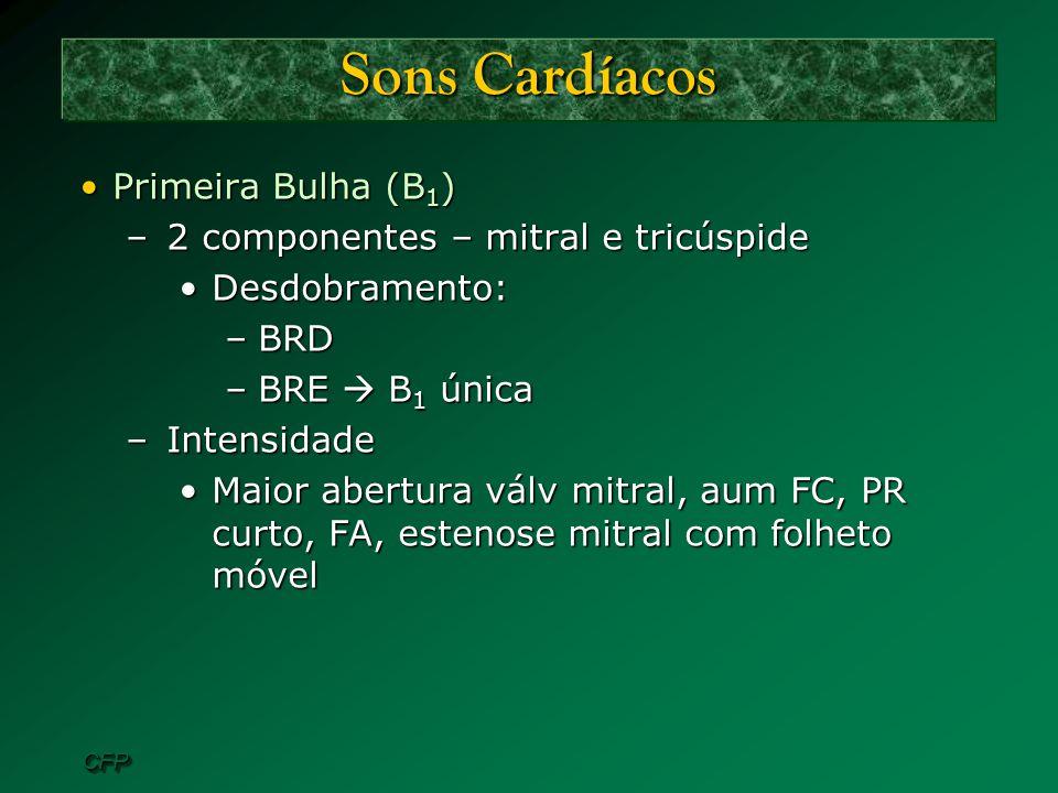 CFPCFP Sons Cardíacos Primeira Bulha (B 1 )Primeira Bulha (B 1 ) –2 componentes – mitral e tricúspide Desdobramento:Desdobramento: –BRD –BRE B 1 única
