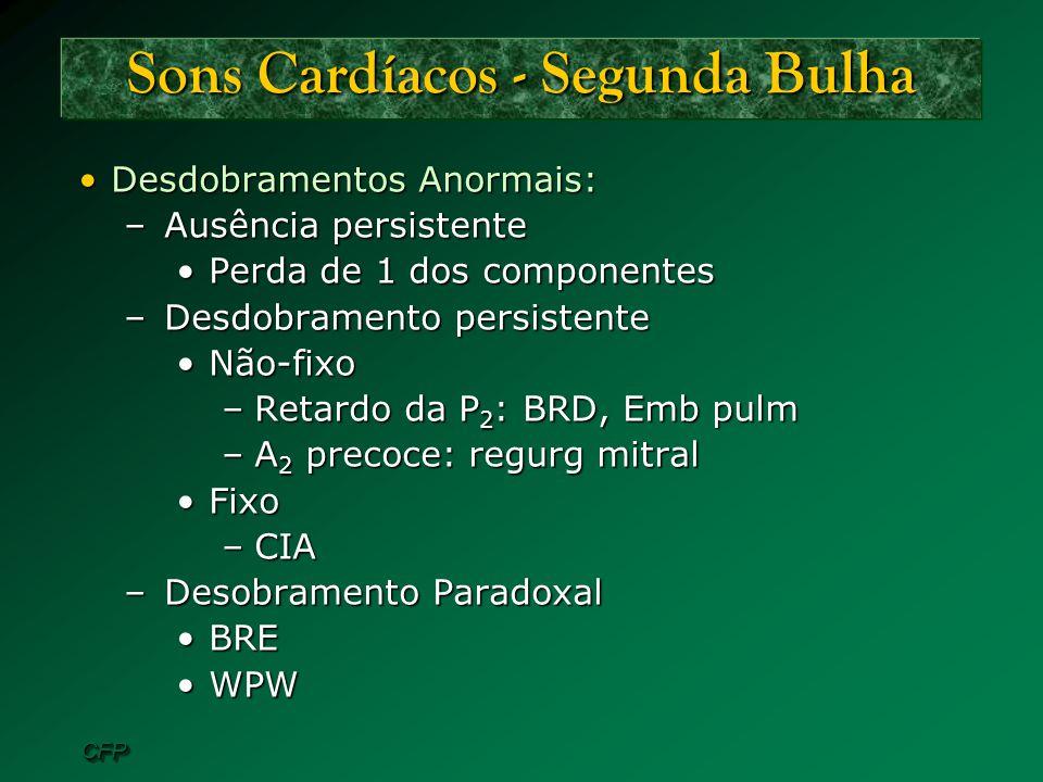CFPCFP Sons Cardíacos - Segunda Bulha Desdobramentos Anormais:Desdobramentos Anormais: –Ausência persistente Perda de 1 dos componentesPerda de 1 dos