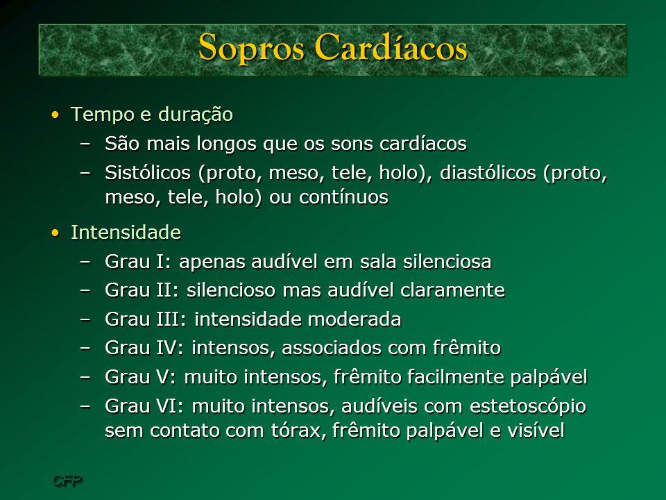 CFPCFP Sopros Cardíacos Tempo e duraçãoTempo e duração –São mais longos que os sons cardíacos –Sistólicos (proto, meso, tele, holo), diastólicos (prot