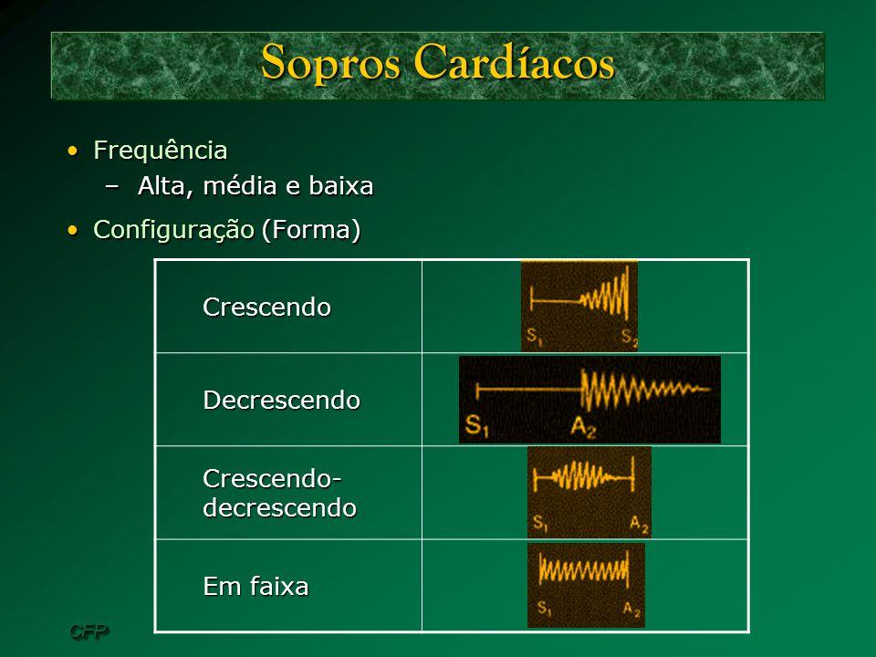 CFPCFP Sopros Cardíacos FrequênciaFrequência –Alta, média e baixa Configuração (Forma)Configuração (Forma)CrescendoDecrescendo Crescendo- decrescendo