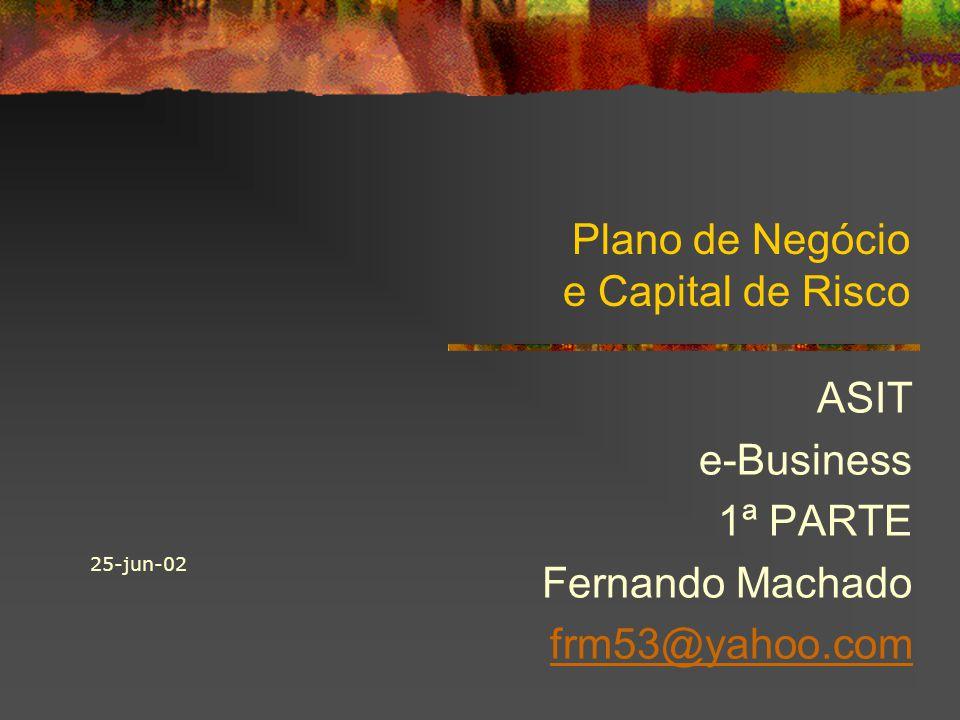 Plano de Negócio e Capital de Risco ASIT e-Business 1ª PARTE Fernando Machado frm53@yahoo.com 25-jun-02