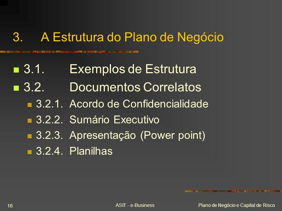 ASIT - e-BusinessPlano de Negócio e Capital de Risco 16 3.A Estrutura do Plano de Negócio 3.1.Exemplos de Estrutura 3.2.Documentos Correlatos 3.2.1.Ac