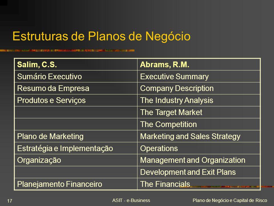ASIT - e-BusinessPlano de Negócio e Capital de Risco 17 Estruturas de Planos de Negócio Salim, C.S.Abrams, R.M. Sum á rio Executivo Executive Summary