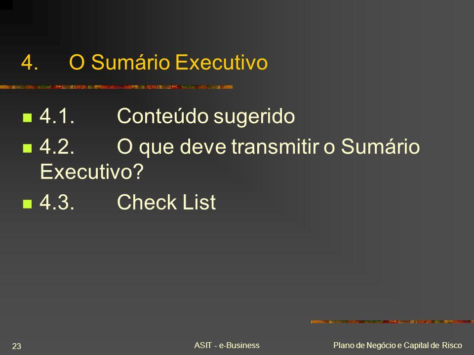 ASIT - e-BusinessPlano de Negócio e Capital de Risco 23 4.O Sumário Executivo 4.1.Conteúdo sugerido 4.2.O que deve transmitir o Sumário Executivo? 4.3