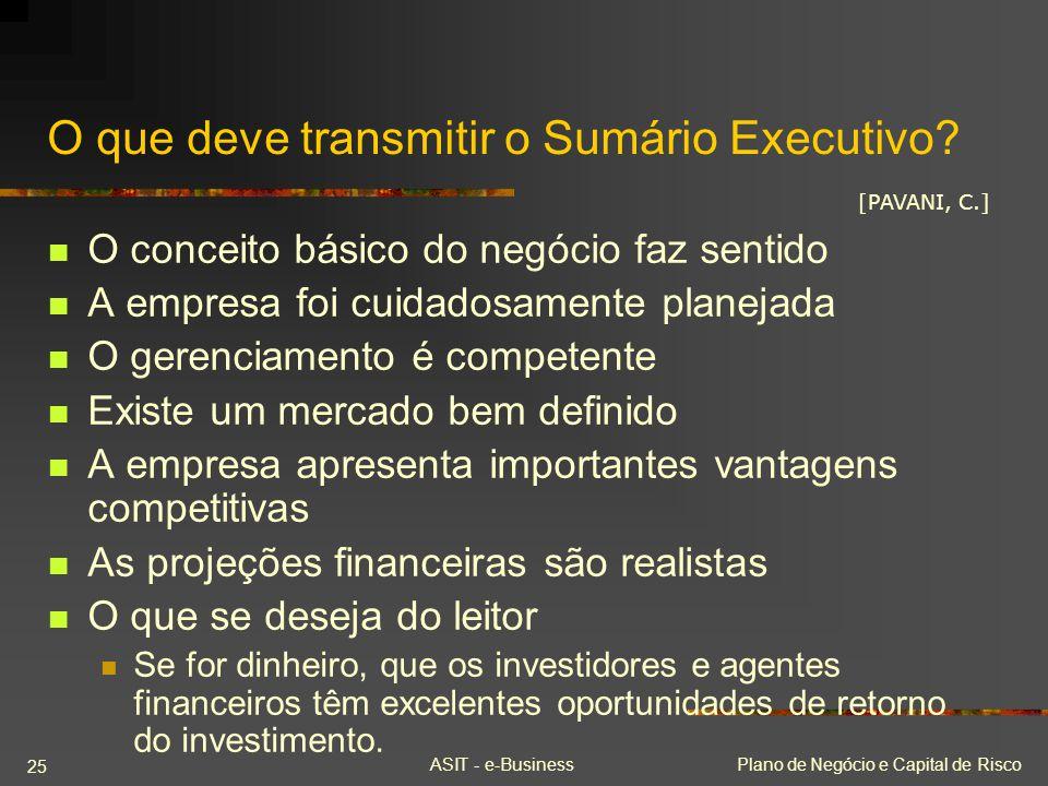 ASIT - e-BusinessPlano de Negócio e Capital de Risco 25 O que deve transmitir o Sumário Executivo? O conceito básico do negócio faz sentido A empresa