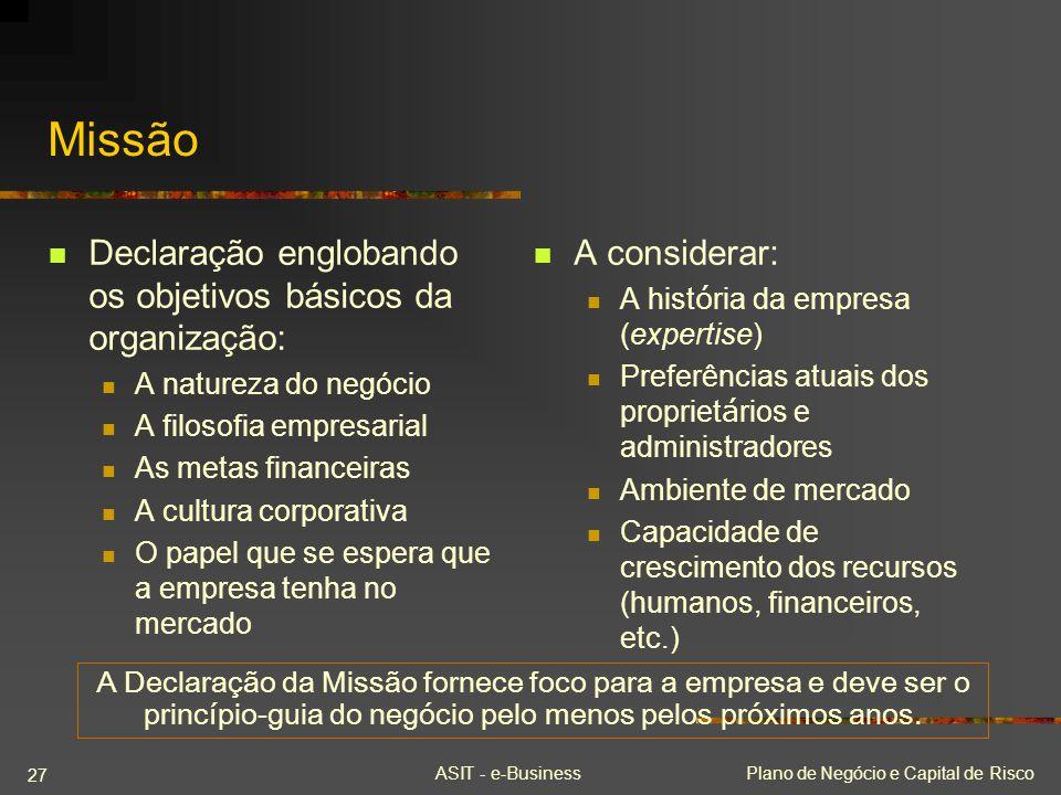 ASIT - e-BusinessPlano de Negócio e Capital de Risco 27 Missão Declaração englobando os objetivos básicos da organização: A natureza do negócio A filo