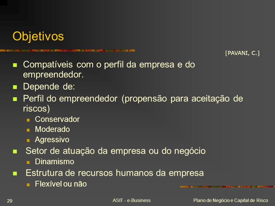 ASIT - e-BusinessPlano de Negócio e Capital de Risco 29 Objetivos Compatíveis com o perfil da empresa e do empreendedor. Depende de: Perfil do empreen