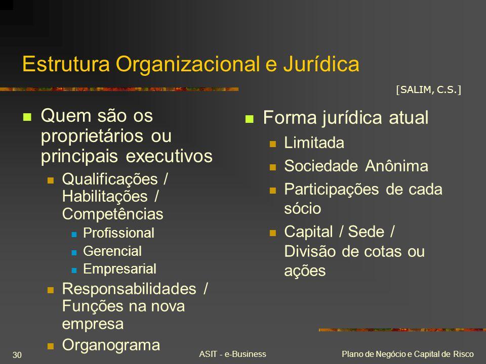 ASIT - e-BusinessPlano de Negócio e Capital de Risco 30 Estrutura Organizacional e Jurídica Quem são os proprietários ou principais executivos Qualifi