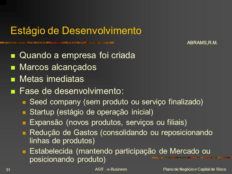 ASIT - e-BusinessPlano de Negócio e Capital de Risco 31 Estágio de Desenvolvimento Quando a empresa foi criada Marcos alcançados Metas imediatas Fase