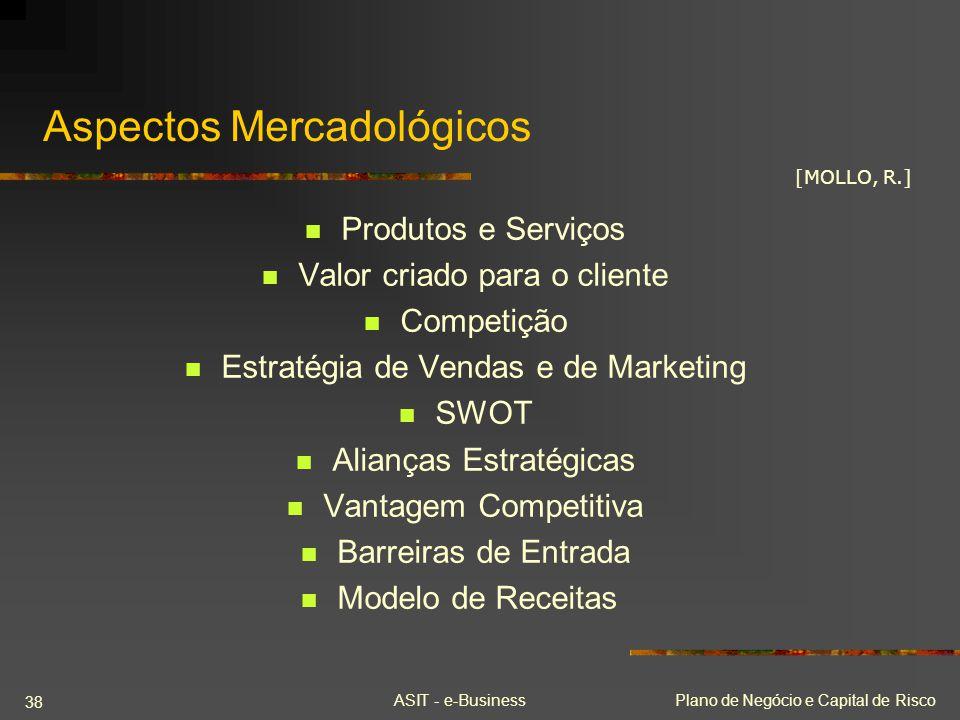 ASIT - e-BusinessPlano de Negócio e Capital de Risco 38 Aspectos Mercadológicos Produtos e Serviços Valor criado para o cliente Competição Estratégia
