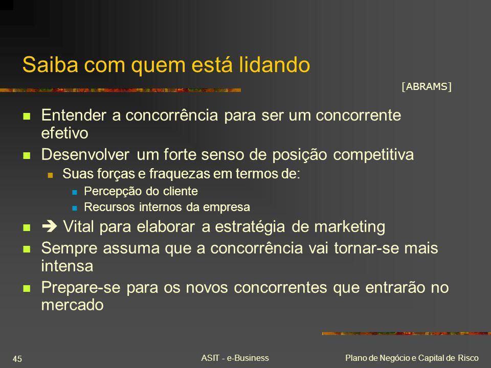 ASIT - e-BusinessPlano de Negócio e Capital de Risco 45 Saiba com quem está lidando Entender a concorrência para ser um concorrente efetivo Desenvolve