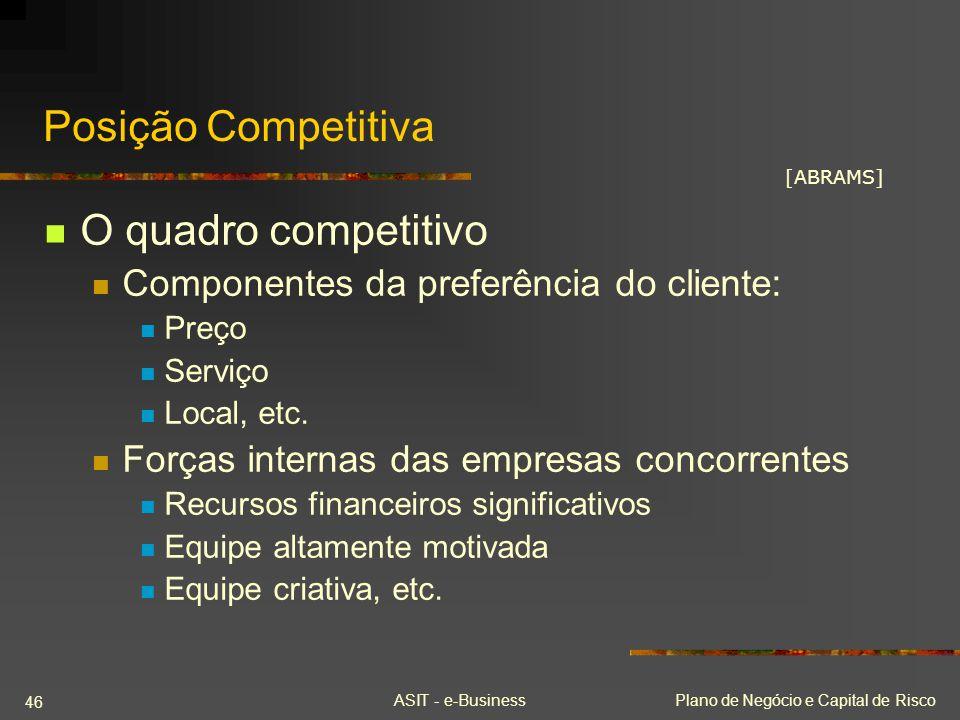 ASIT - e-BusinessPlano de Negócio e Capital de Risco 46 Posição Competitiva O quadro competitivo Componentes da preferência do cliente: Preço Serviço
