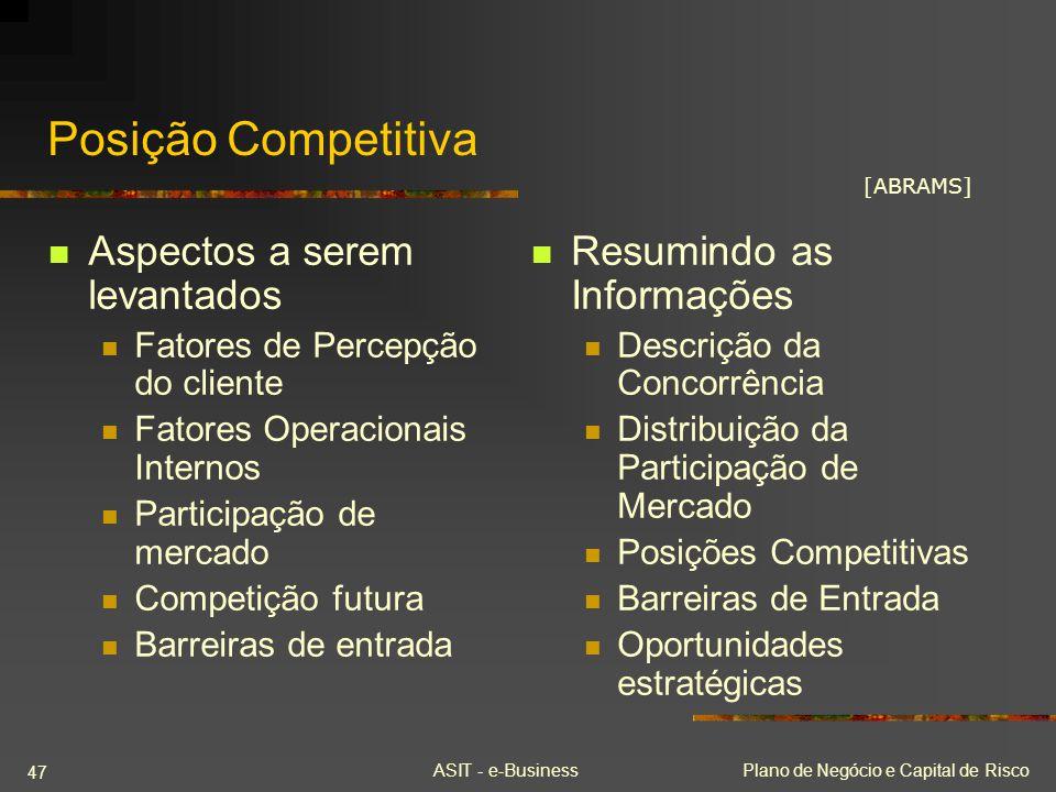 ASIT - e-BusinessPlano de Negócio e Capital de Risco 47 Posição Competitiva Aspectos a serem levantados Fatores de Percepção do cliente Fatores Operac