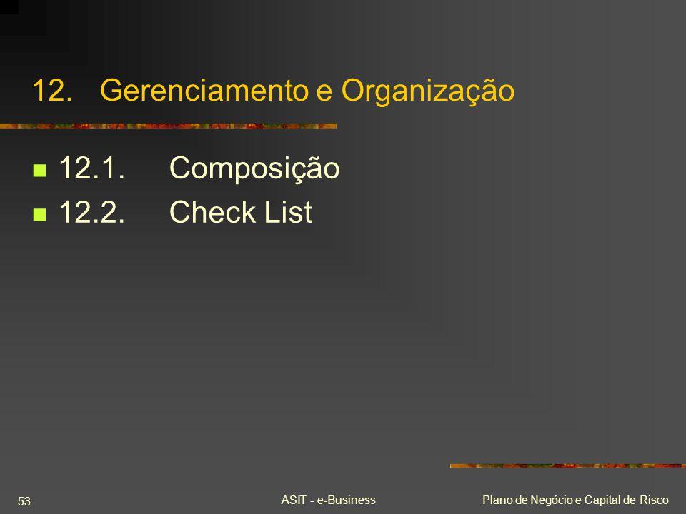 ASIT - e-BusinessPlano de Negócio e Capital de Risco 53 12.Gerenciamento e Organização 12.1.Composição 12.2.Check List