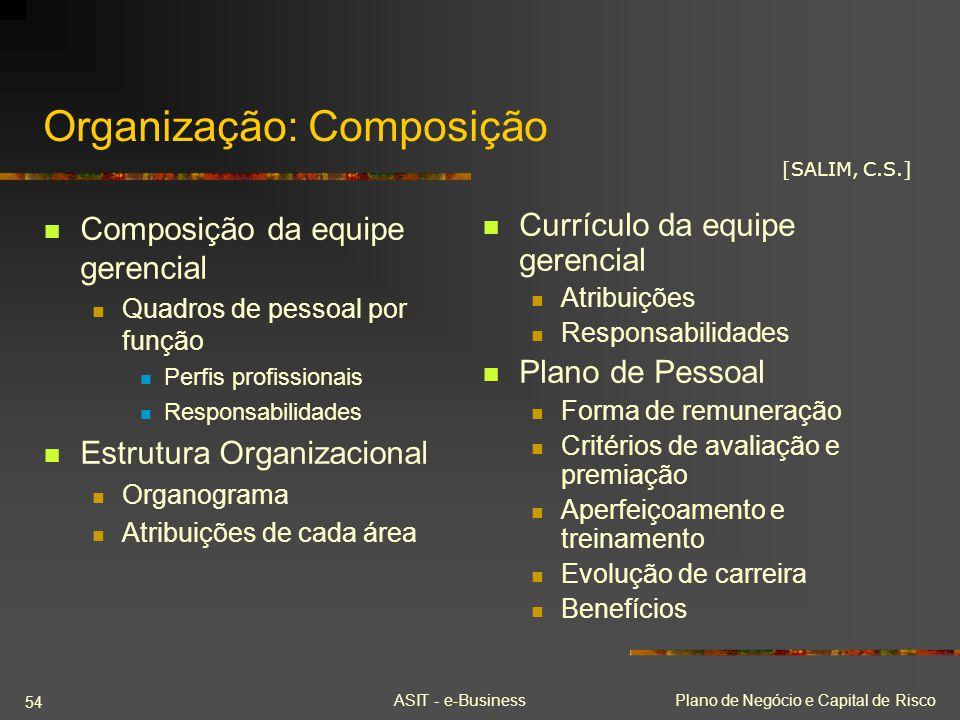 ASIT - e-BusinessPlano de Negócio e Capital de Risco 54 Organização: Composição Composição da equipe gerencial Quadros de pessoal por função Perfis pr