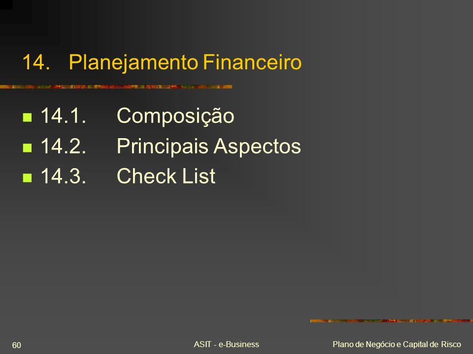 ASIT - e-BusinessPlano de Negócio e Capital de Risco 60 14.Planejamento Financeiro 14.1.Composição 14.2.Principais Aspectos 14.3.Check List