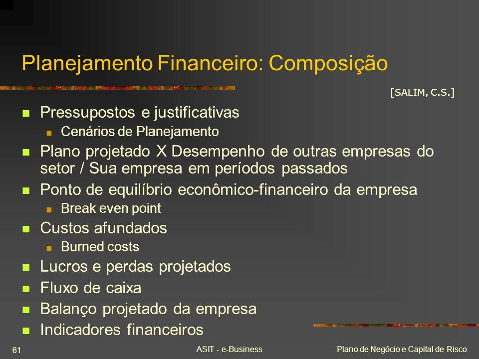 ASIT - e-BusinessPlano de Negócio e Capital de Risco 61 Planejamento Financeiro: Composição Pressupostos e justificativas Cenários de Planejamento Pla