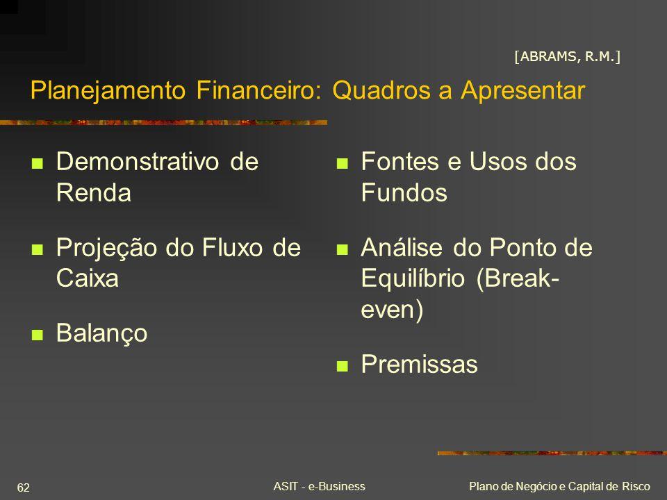 ASIT - e-BusinessPlano de Negócio e Capital de Risco 62 Planejamento Financeiro: Quadros a Apresentar Demonstrativo de Renda Projeção do Fluxo de Caix