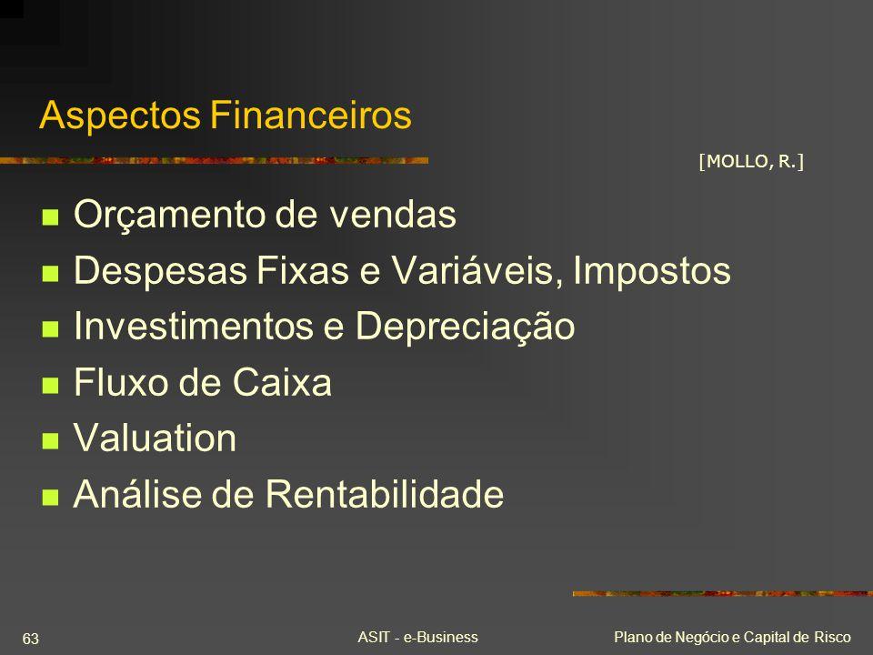 ASIT - e-BusinessPlano de Negócio e Capital de Risco 63 Aspectos Financeiros Orçamento de vendas Despesas Fixas e Variáveis, Impostos Investimentos e