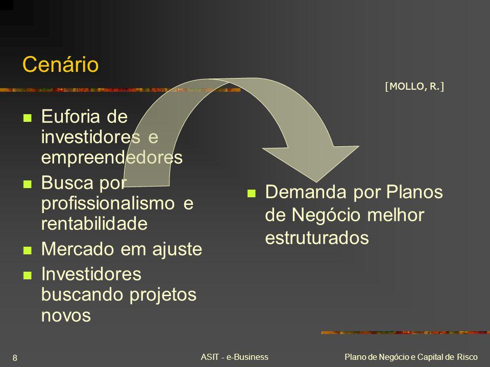 ASIT - e-BusinessPlano de Negócio e Capital de Risco 8 Cenário Euforia de investidores e empreendedores Busca por profissionalismo e rentabilidade Mer