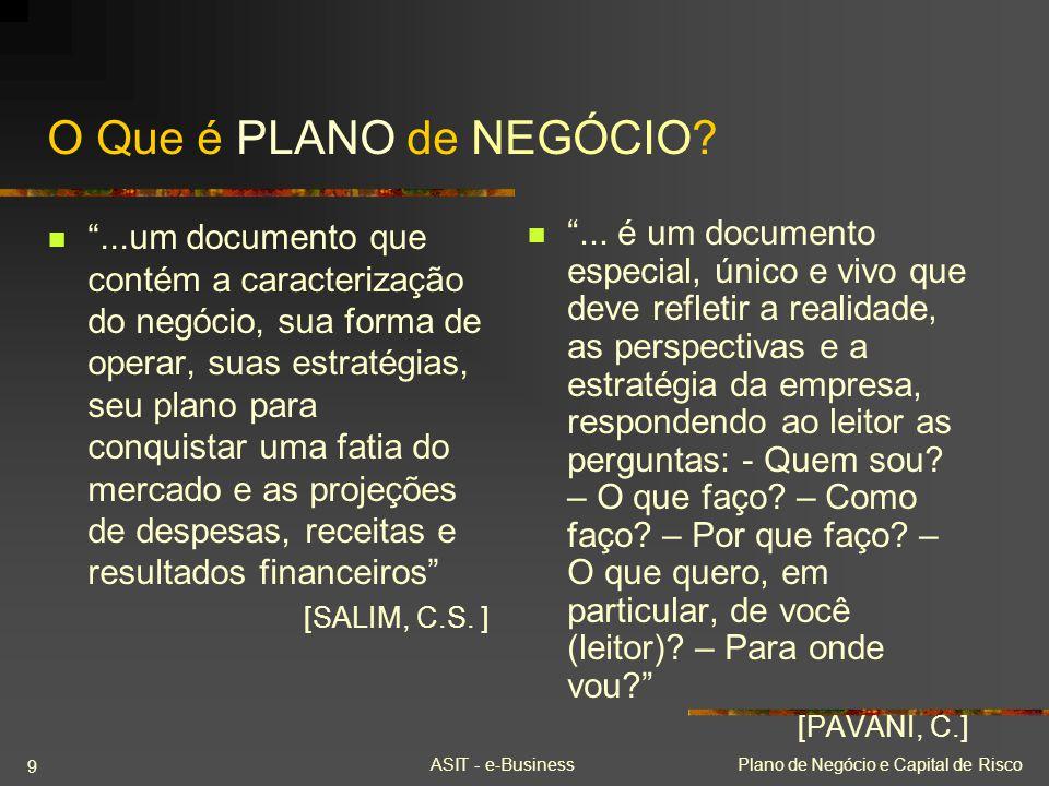 ASIT - e-BusinessPlano de Negócio e Capital de Risco 9 O Que é PLANO de NEGÓCIO?...um documento que contém a caracterização do negócio, sua forma de o