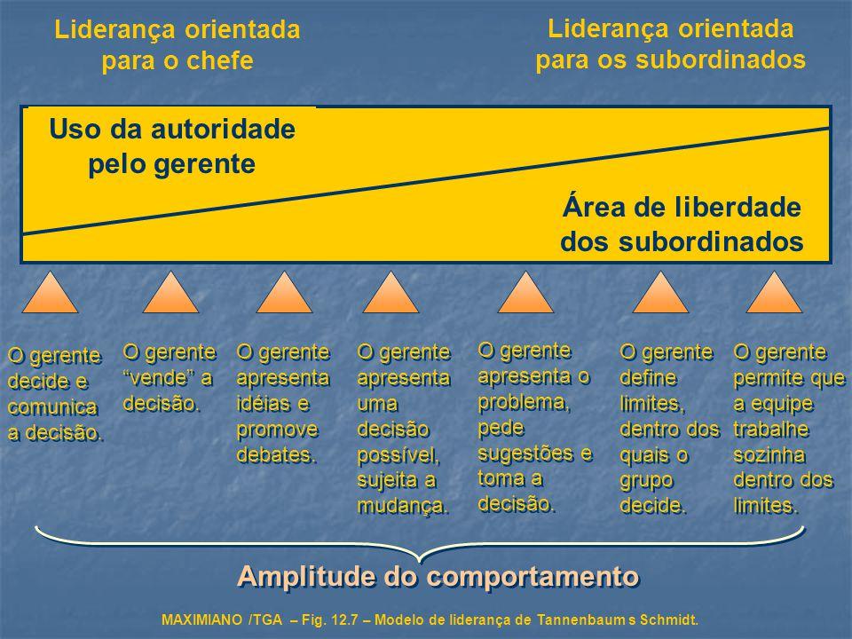 Uso da autoridade pelo gerente Área de liberdade dos subordinados Liderança orientada para o chefe Liderança orientada para os subordinados O gerente decide e comunica a decisão.