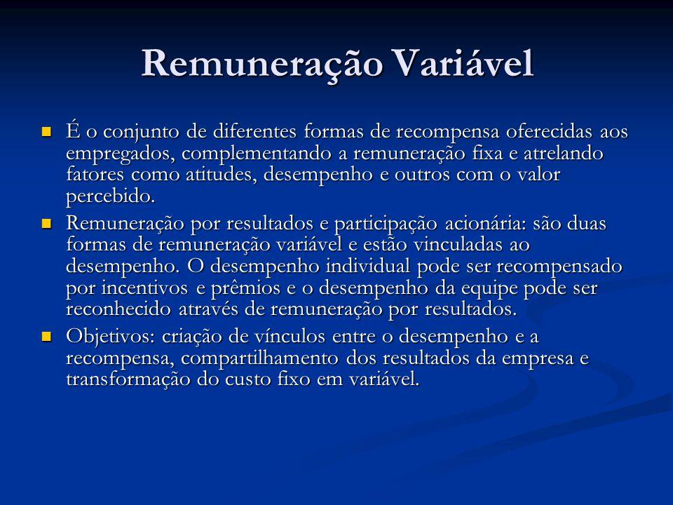 Remuneração Variável É o conjunto de diferentes formas de recompensa oferecidas aos empregados, complementando a remuneração fixa e atrelando fatores