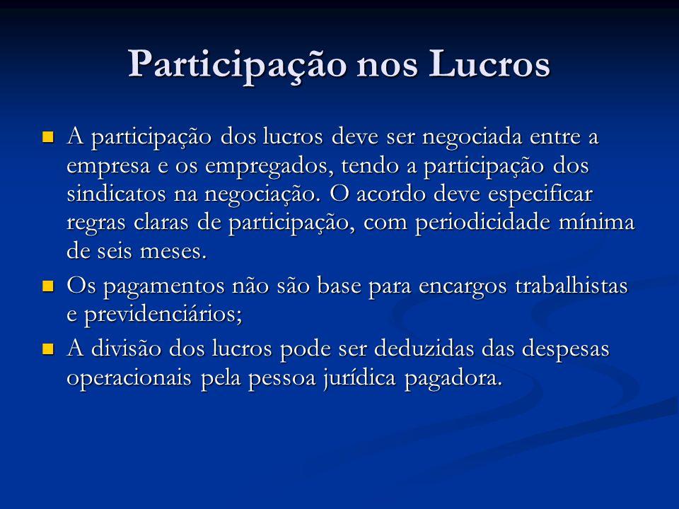Participação nos Lucros A participação dos lucros deve ser negociada entre a empresa e os empregados, tendo a participação dos sindicatos na negociaçã