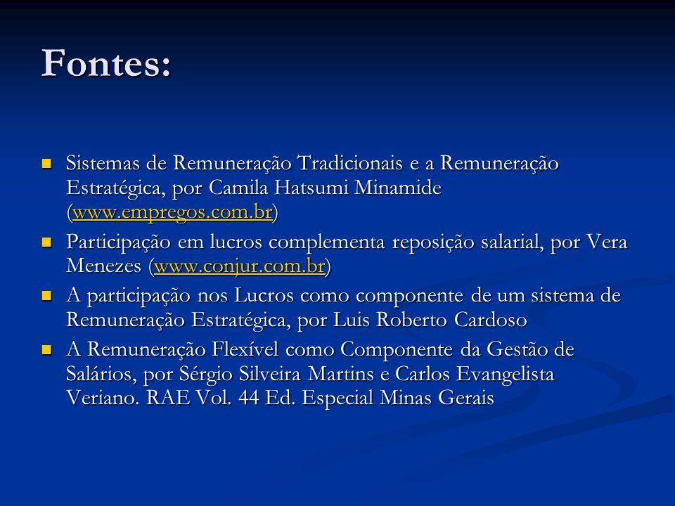 Fontes: Sistemas de Remuneração Tradicionais e a Remuneração Estratégica, por Camila Hatsumi Minamide (www.empregos.com.br) Sistemas de Remuneração Tr