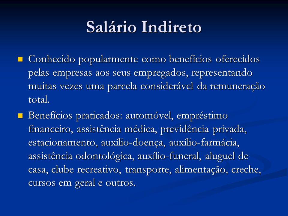Salário Indireto Conhecido popularmente como benefícios oferecidos pelas empresas aos seus empregados, representando muitas vezes uma parcela consider
