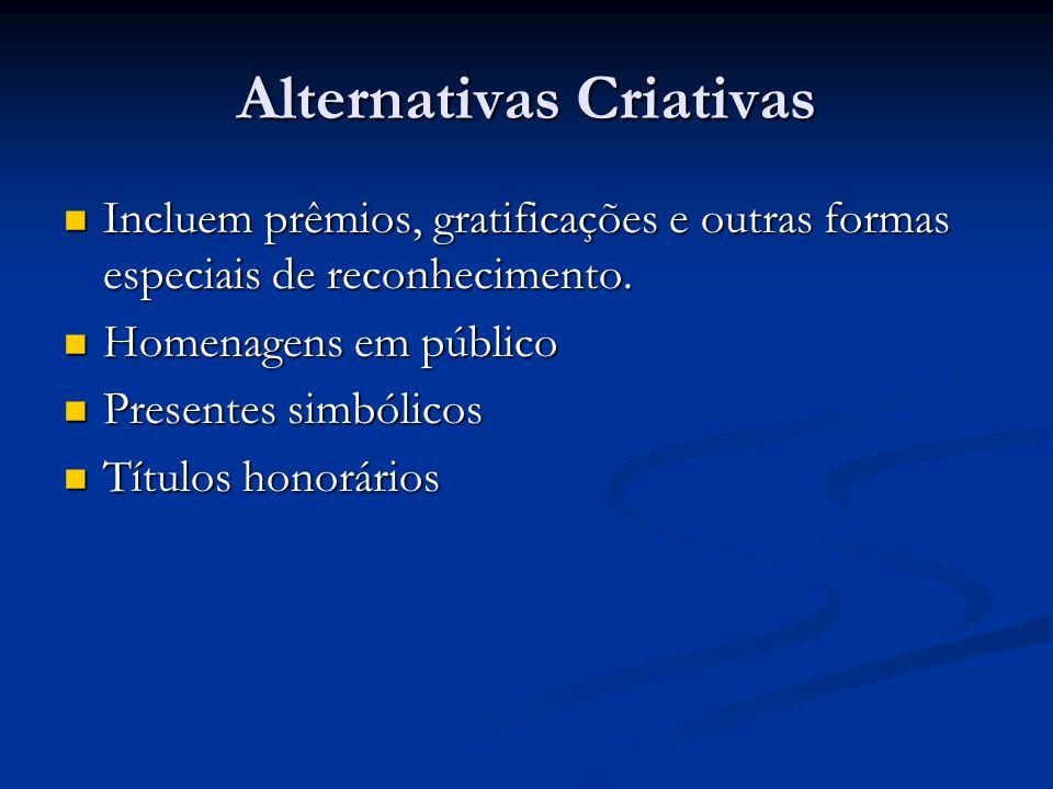Alternativas Criativas Incluem prêmios, gratificações e outras formas especiais de reconhecimento. Incluem prêmios, gratificações e outras formas espe