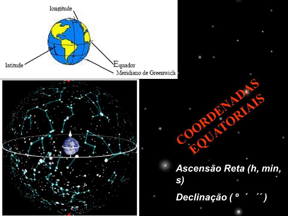 COORDENADAS EQUATORIAIS Ascensão Reta (h, min, s) Declinação ( º ´ ´´ )
