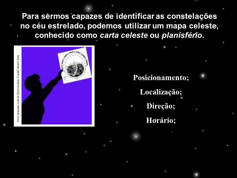 Para sermos capazes de identificar as constelações no céu estrelado, podemos utilizar um mapa celeste, conhecido como carta celeste ou planisfério.
