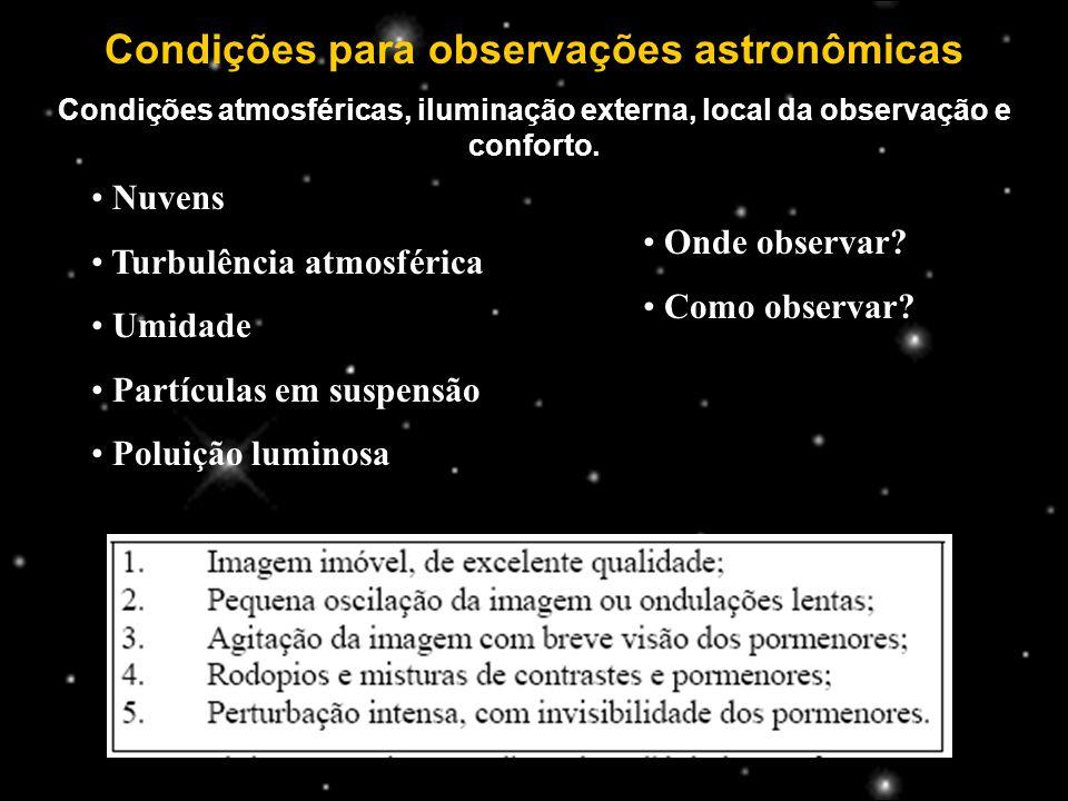 Condições para observações astronômicas Condições atmosféricas, iluminação externa, local da observação e conforto.