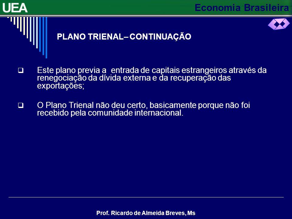 Economia Brasileira Prof. Ricardo de Almeida Breves, Ms O PLANO TRIENAL Em 1963, o governo Goulart lançou o Plano Trienal para combater a inflação, ga