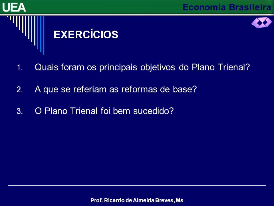Economia Brasileira Prof. Ricardo de Almeida Breves, Ms PLANO TRIENAL– CONTINUAÇÃO Este plano previa a entrada de capitais estrangeiros através da ren