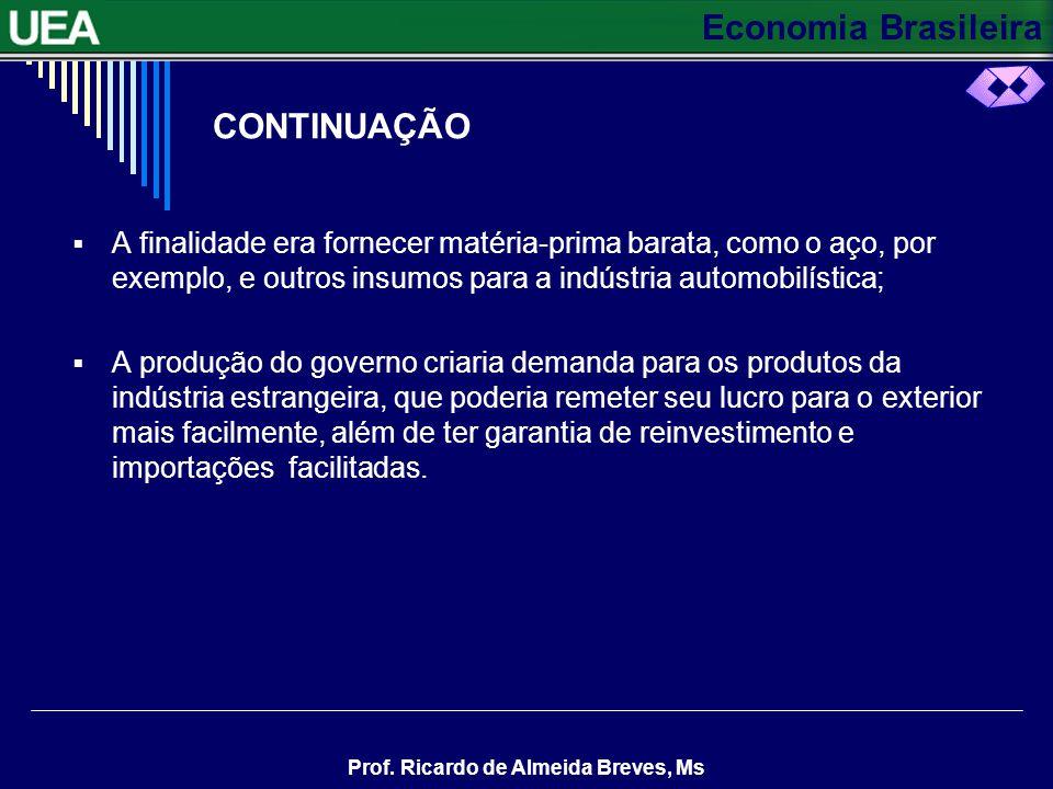 Economia Brasileira Prof. Ricardo de Almeida Breves, Ms O PLANO DE METAS Expandir e diversificar a indústria O Plano de Metas do governo JK programou