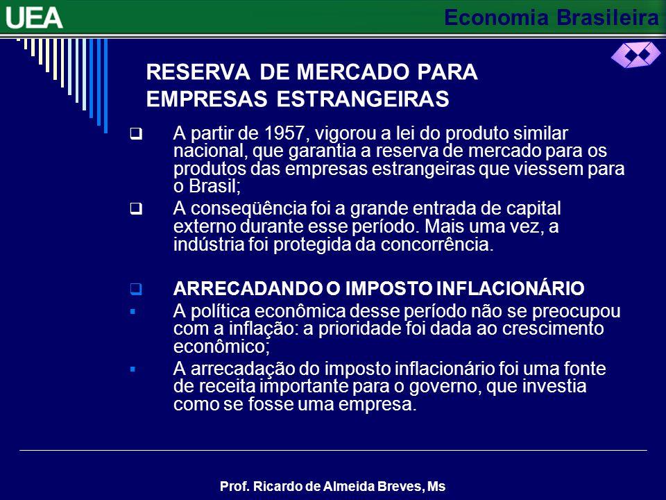 Economia Brasileira Prof. Ricardo de Almeida Breves, Ms CONTINUAÇÃO A finalidade era fornecer matéria-prima barata, como o aço, por exemplo, e outros