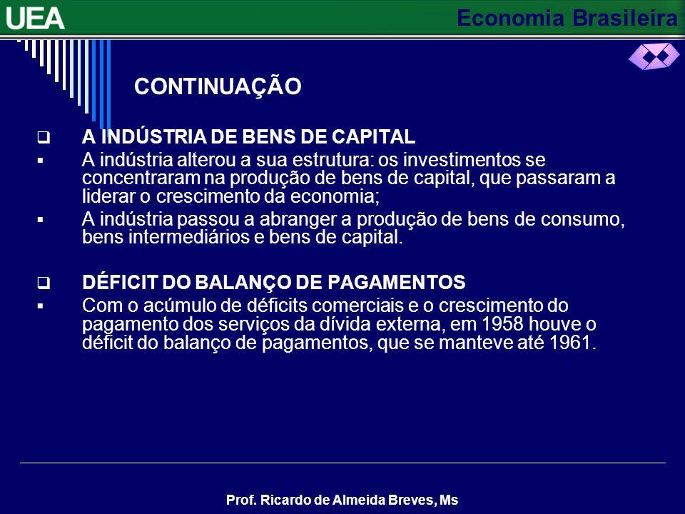 Economia Brasileira Prof. Ricardo de Almeida Breves, Ms NOVAS INDÚSTRIAS Houve um aumento dos investimentos, entre 1956 e 1961, em setores complementa