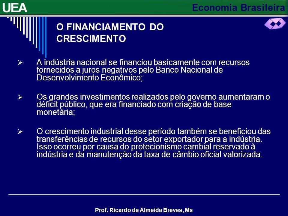 Economia Brasileira Prof. Ricardo de Almeida Breves, Ms CONTINUAÇÃO A INDÚSTRIA DE BENS DE CAPITAL A indústria alterou a sua estrutura: os investiment
