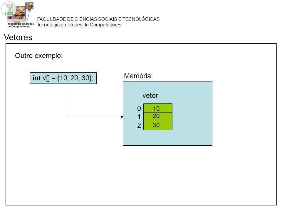 FACULDADE DE CIÊNCIAS SOCIAIS E TECNOLÓGICAS Tecnologia em Redes de Computadores Outro exemplo: Vetores int v[] = {10, 20, 30}; 012012 vetor Memória: