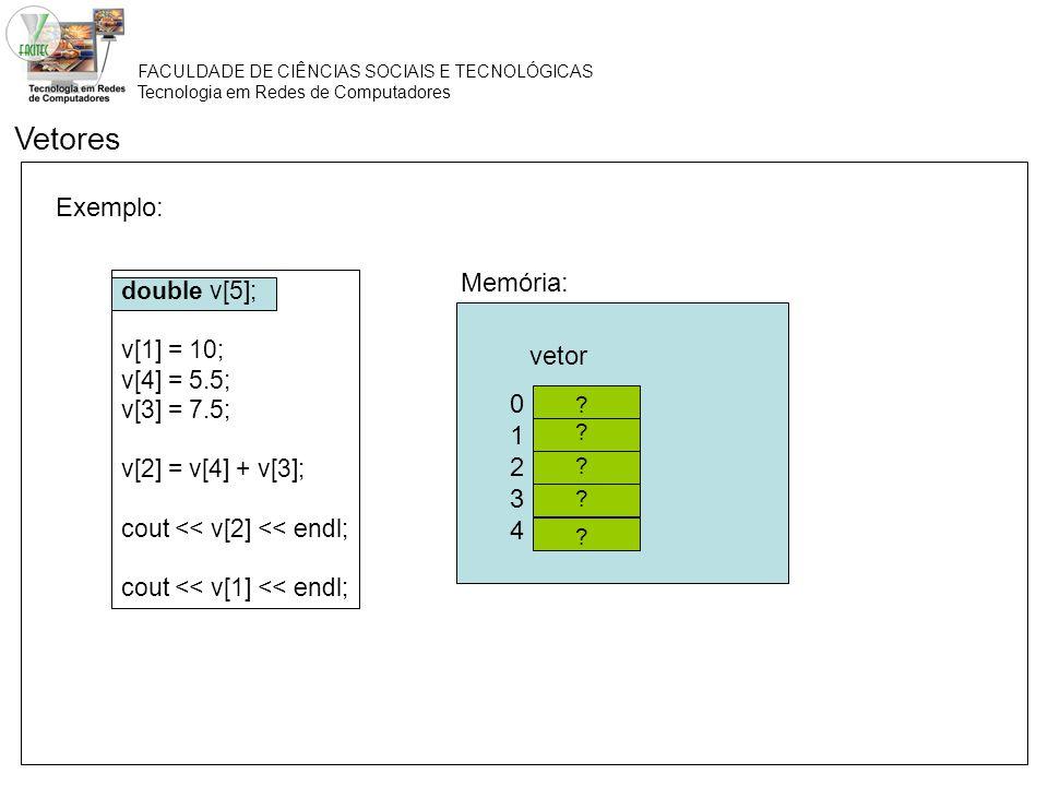 FACULDADE DE CIÊNCIAS SOCIAIS E TECNOLÓGICAS Tecnologia em Redes de Computadores Exemplo: Vetores double v[5]; v[1] = 10; v[4] = 5.5; v[3] = 7.5; v[2]
