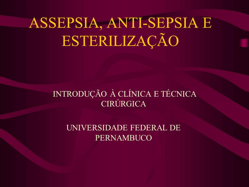 ASSEPSIA, ANTI-SEPSIA E ESTERILIZAÇÃO INTRODUÇÃO À CLÍNICA E TÉCNICA CIRÚRGICA UNIVERSIDADE FEDERAL DE PERNAMBUCO