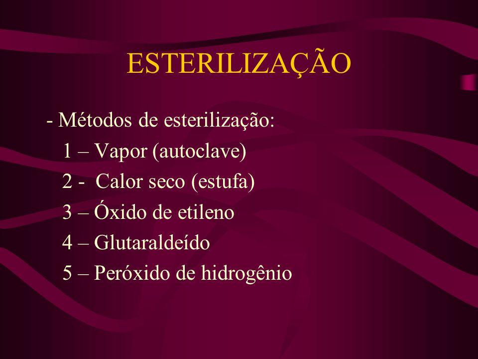ESTERILIZAÇÃO - Métodos de esterilização: 1 – Vapor (autoclave) 2 - Calor seco (estufa) 3 – Óxido de etileno 4 – Glutaraldeído 5 – Peróxido de hidrogênio